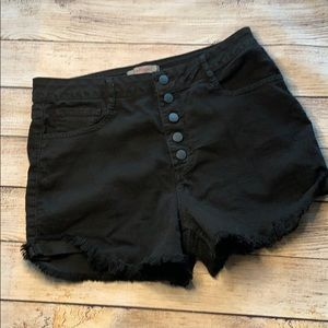 High waisted button up black jeans shorts - 10